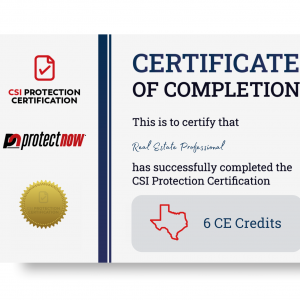 Texas 6 CE Credits & CSI Protection Certification Live Class